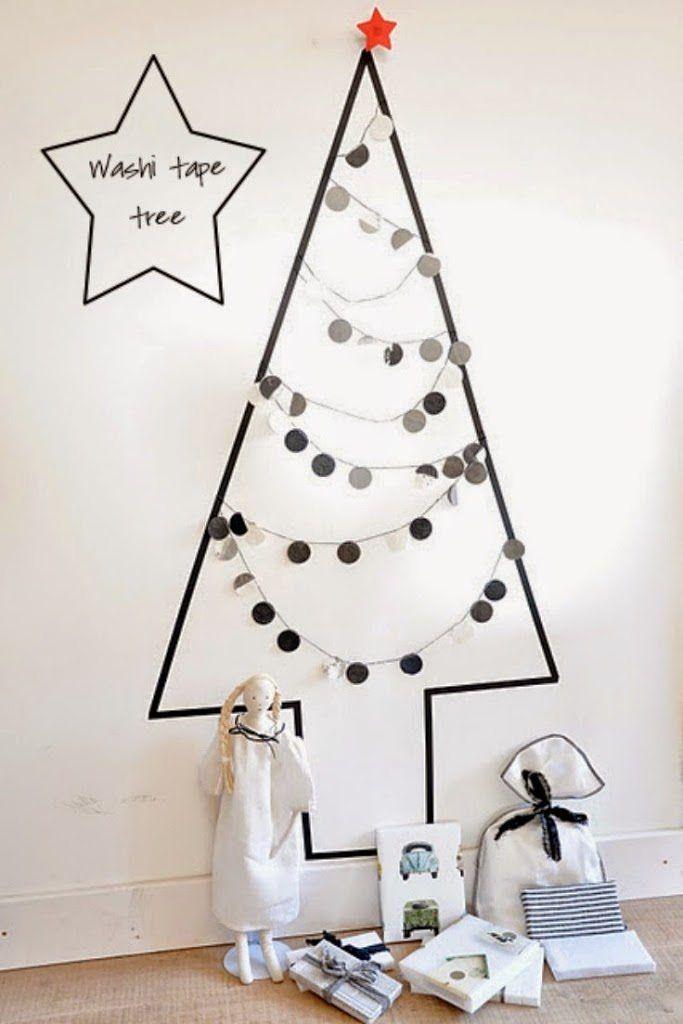 Washi Tape Christmas Tree, Black and White Washi Tape Christmas Tree, 20 Washi Tape Christmas Craft ideas #Washi #ChristmasCraft #Christmas #ChristmasDecorations