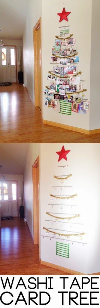 Washi Tape Christmas Tree, Washi Tape Craft Ideas #WashiTape #Washi #Christmas #ChristmasCraft #ChristmasDecorations