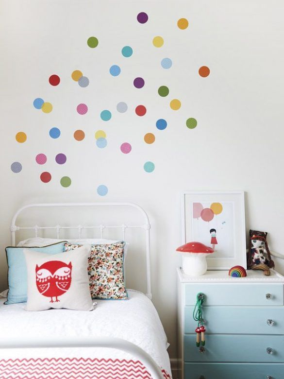 Rainbow Polka Dot Decals On White Wall Part 67
